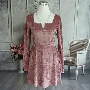 Aeropostale Dusty Rose Crushed Velvet Dress NWT